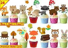 48 WOODLAND CREATURES childrens Cup Cake Toppers Edible Party Decorations kids