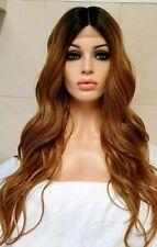 Light Auburn Brown Human Hair Wig Swiss Lace Front Wig Long Bangs