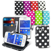 POLKA DOT LEATHER WALLET FLIP  CASE COVER POUCH FOR SAMSUNG GALAXY YOUNG 2 G130