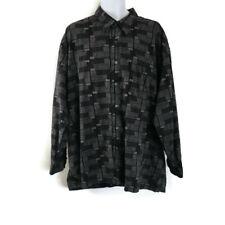 ENRO 3XB Black Multi Colored  Casual Button Up Shirt