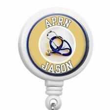 Personalized APRN Nurse Clip On Id Badge Reel Retractable Medical Work Id Holder