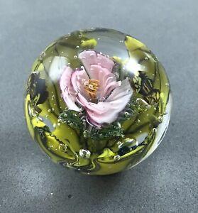 """handmade """"We 3 Bees"""" glass marble 11/2"""" Luminous Pick Flower Murrini"""