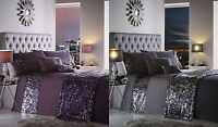 Dazzle Luxury Sequin Sparkle Grey Purple Duvet Cover Bedding Set Double King Sup