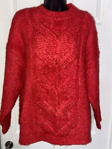Principles Red Knit Jumper Size 12 Oversized Fit 14-16