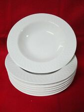 7 Oneida White Wicker Basket Weave Wide Rim Soup Salad Pasta Bowls 9""