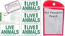 Live Animal Sticker Label Set of 5 w/ Pet Passport Pouch RED