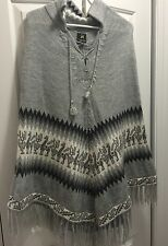 Women's Alpaca Poncho Size Small Sweater Gray