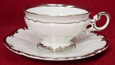 """HUTSCHENREUTHER china REVERE white DEMITASSE CUP & SAUCER Set 1-3/4"""" tall"""