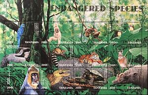 TANZANIA ENDANGERED SPECIES STAMP SHEET 12V 1998 MNH TIGER WILD ANIMALS WILDLIFE