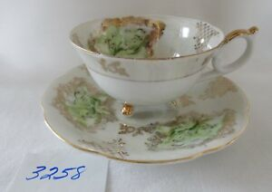 SELECTA Japan 3 Footed Cup Saucer Set green with gold bone china
