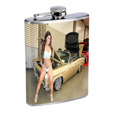 Chola Pin Up Girls D10 Flask 8oz Stainless Steel Hip Drinking Whiskey Gangsta