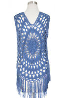 ScarvesMe Women's Fashion Netted Crochet Cover Up Poncho with Fringe