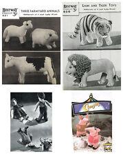 4 x Vintage Knitting Patterns – Farm Animals, Lion & Tiger, Jack & Jill, Clanger
