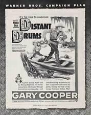 DISTANT DRUMS Movie POSTER 27x40 Gary Cooper Mari Aldon Richard Webb Ray Teal