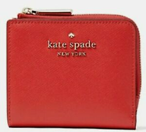 New Kate Spade New York Staci small L-zip Bifold wallet Leather Digital Red