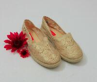 EUC Rocket Dog Crochet Espadrille Flats Cream & Gold US 10