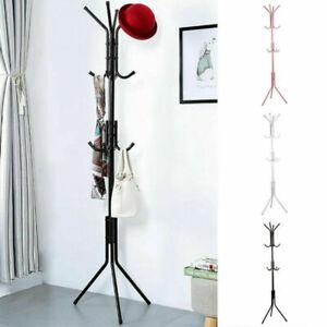 12 Hooks Coat Hanger Jacket Rack Umbrella Clothes Holder Hat Tree Stand Metal