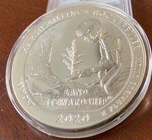 2020 Marsh-Billings-Rockefeller Vermont 5 oz Silver Quarter dollar  In Capsule