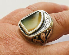 Arts And Crafts Agate Heavy Silver Ring , Embossed Flowered Shoulders