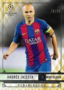 2016 TOPPS Champions League Showcase Andres Iniesta Barcelona Gold Base Card /99