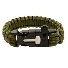 Paracord Survival Bracelet +Fire Starter & Whistle f/ Hiking Camping-Army Green