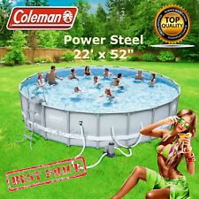 """Coleman Swimming Pool Set 22'x52"""" with Filter Pump Ladder Cover Easy Set New"""