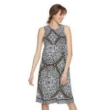 a:glow Maternity Dress Size XS Black Print Smocked Midi Dress Sleeveless Smocked
