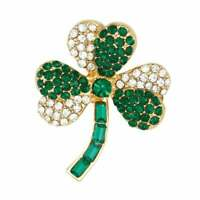 Charming Green and Clear Crystal Gold Tone Shamrock Brooch