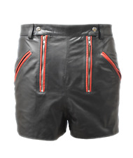 Genuine Leather shorts Mens play shorts front two zipper open able front
