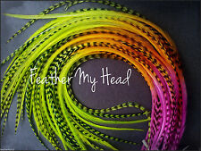 """Whiting Ombre Tie Dye Multi Colored Feather Hair Extension 7""""-9"""" Long Neon Night"""