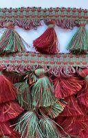 Upholstery Fringe Edge Tassel Trim Edge Border Red Green Approx 21m #29E208