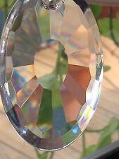 50mm Austrian AB Crystal Double Oval Sun Ray Prism Suncatcher Awesome Rainbows!