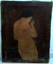 Old Antique Fine Portraits Nude woman Beautiful Oil Canvas Painting