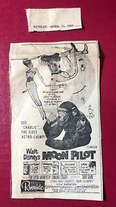 "1962 Walt Disney's ""Moon Pilot"" Charlie the 1st Astro-chimp movie print ad 7x4"""