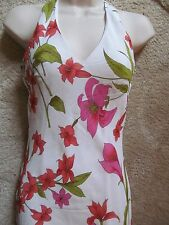 new white floral slinky halterneck dress size 10 by new look  wedding /races