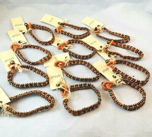 Wholesale Lot Aerie Orange Bronze Beaded Bracelets Set of 12 Boho Chic New 25O