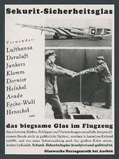 SEKURIT-vetro di sicurezza vetro opere rivalorizzare LUFTHANSA JUNKERS g38 d-2500 1934