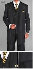 "Men's 3 piece Milano Moda 35"" Zoot Suit with Herring bone Design Suit 3106 Black"