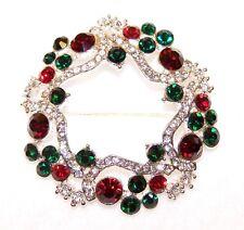 Sparkling Christmas Wreath Pin/Brooch Silver w/Red Green Crystal Rhinestone Sets