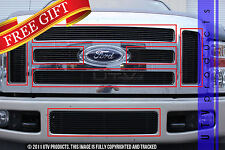 GTG 2008 - 2010 Ford F250 F350 F450 7PC Gloss Black Overlay Billet Grille Kit