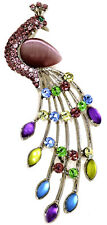 Purple Sparkling Opal Rhinestone Crystal Peacock Brooch