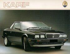 MASERATI KARIF 2800 1988-89 UK Opuscolo Vendite sul Mercato PIEGA