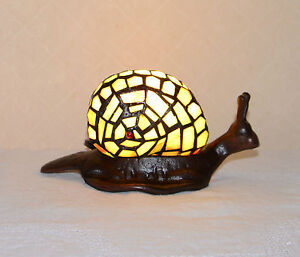 Stained Glass Handcrafted Snail Night Light Table Desk Lamp. Cute!
