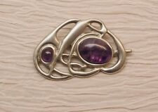 St Justin Pewter Pin Amethyst Stones