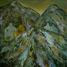 "NEW YVONNE AULD ORIGINAL ""Quarry Landscape North Wales"" Welsh mining PAINTING"