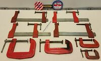 """Vintage STANLEY USA HandyMan Clamps 8-pc. Wood Working Tools 1"""" 2""""  2.5""""  3""""  6"""""""