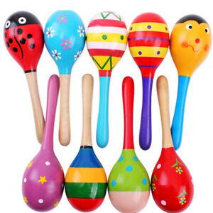 2pcs 11.5cm Children Kids Wooden Maracas Rattle Shakers Musical Educational Toys
