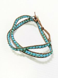 Artisan Blue Acrylic Bead Brown Cord Woven Style Wrap Bracelet 17 Inches