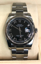 Rolex Datejust 116234 Black Roman Dial/18K Fluted Bezel