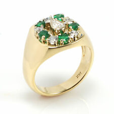 14k Solid Yellow Gold Men's Band Ring with Natural Emerald and Diamonds